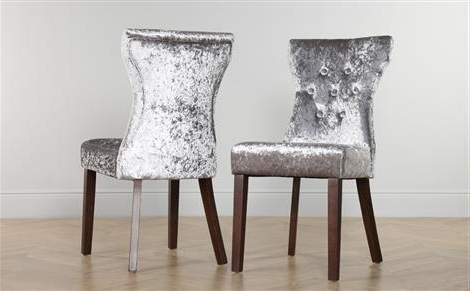 Favorite Bewley Velvet Button Back Dining Chair Silver (Dark Leg) Only £ (View 5 of 20)