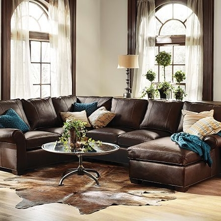 """Favorite Brentwood 124"""" Three Piece Leather Sectional In Matador Walnut Regarding Turdur 3 Piece Sectionals With Raf Loveseat (View 10 of 15)"""