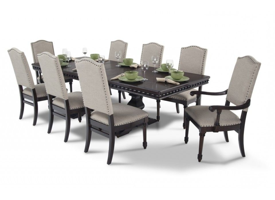 Favorite Caira 7 Piece Rectangular Dining Sets With Upholstered Side Chairs Pertaining To Bristol 9 Piece Dining Set In (View 17 of 20)