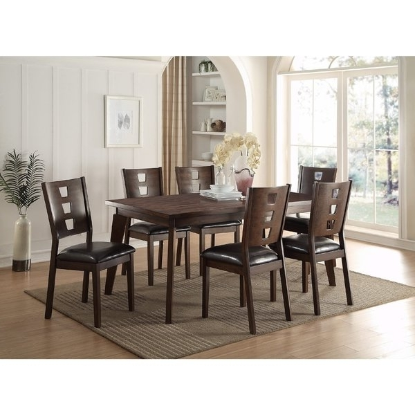 Favorite Caira 7 Piece Rectangular Dining Sets With Upholstered Side Chairs Pertaining To Shop Joey 7 Piece Dining Set – Free Shipping Today – Overstock (View 1 of 20)