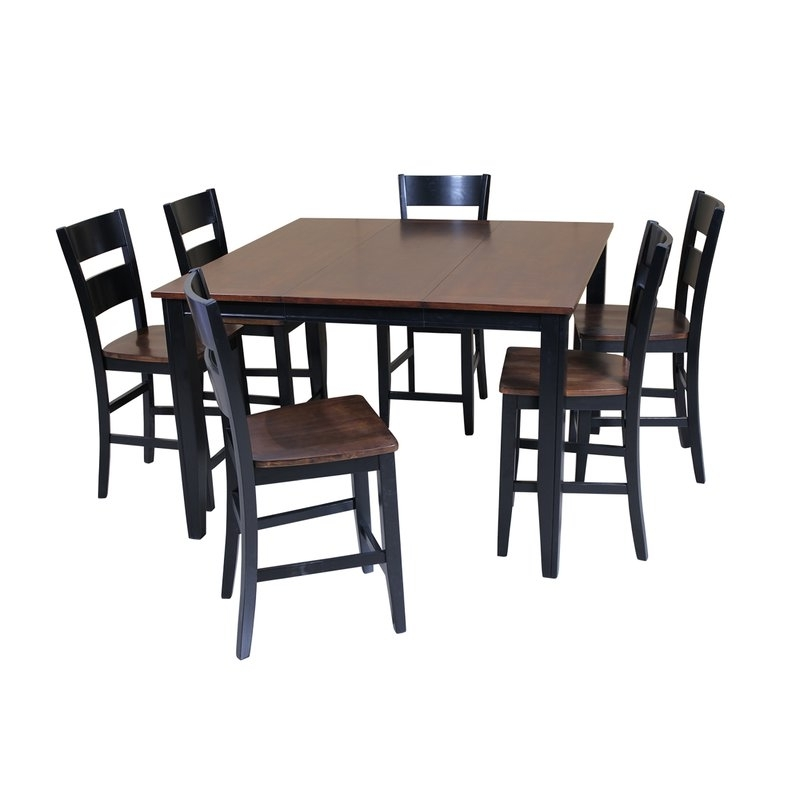 Favorite Chandler 7 Piece Extension Dining Sets With Fabric Side Chairs With Regard To Red Barrel Studio Blessington 7 Piece Counter Height Solid Wood (View 5 of 20)