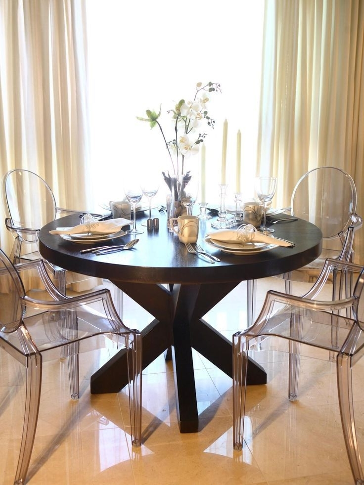 Favorite Clear Plastic Dining Tables In This Elegant Dining Room Features A Large Round Wood Dining Table (View 14 of 20)