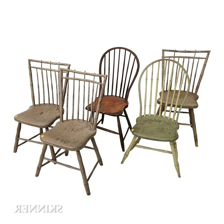 Favorite Combs 5 Piece 48 Inch Extension Dining Sets With Mindy Side Chairs Inside Five Painted Bamboo Turned Windsor Side Chairs (View 8 of 20)