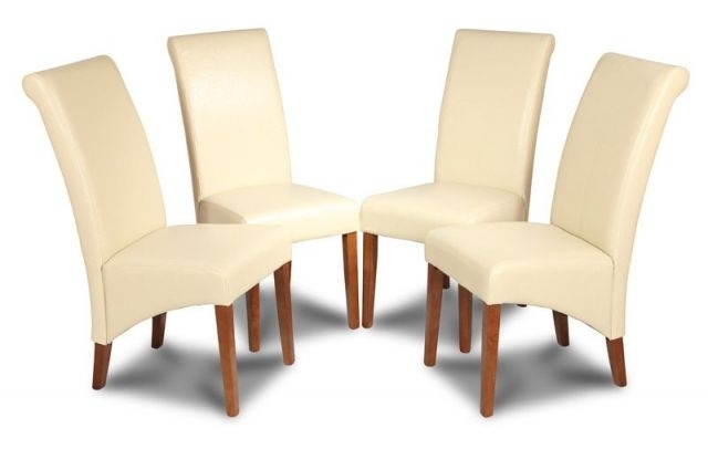 Favorite Cream Leather Dining Chairs In Set Of 4 Cream Dining Chairs Made With Real Leather (View 6 of 20)