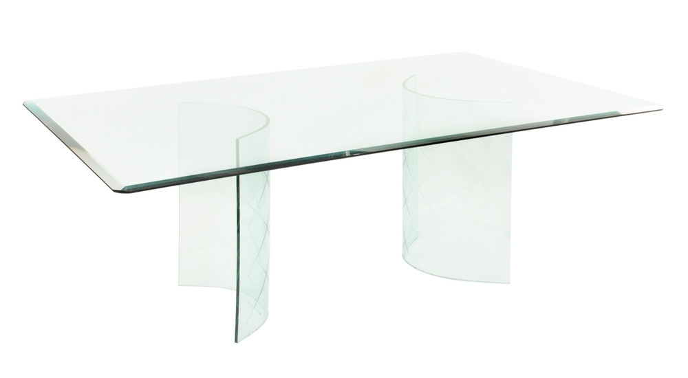 Favorite Curved Glass Dining Tables Intended For Glass Dining Table With Curved Etches Bases 1950S — Lobel Modern Nyc (View 11 of 20)