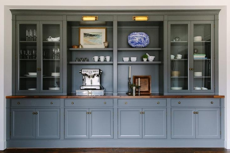 Favorite Dining Room Cabinets Inside Dark Gray Dining Room Cabinets And Shelves – Transitional – Dining Room (View 10 of 20)