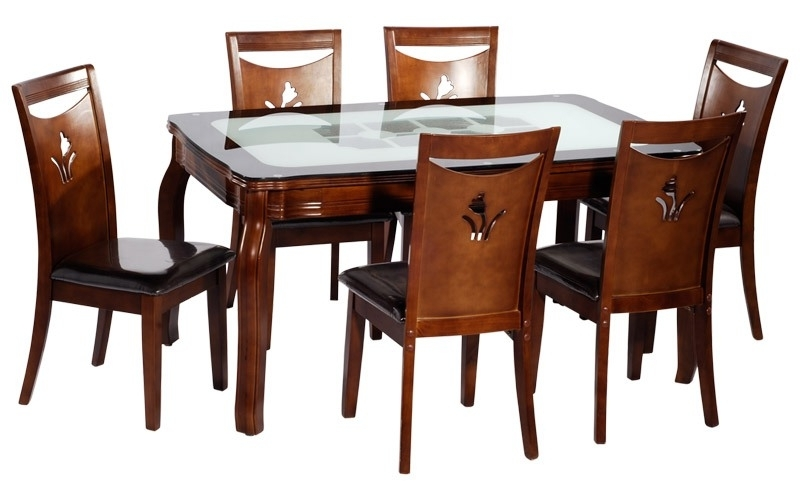 Favorite Dining Table (With 6 Chairs) Buy In Patna Within 6 Chair Dining Table Sets (View 14 of 20)