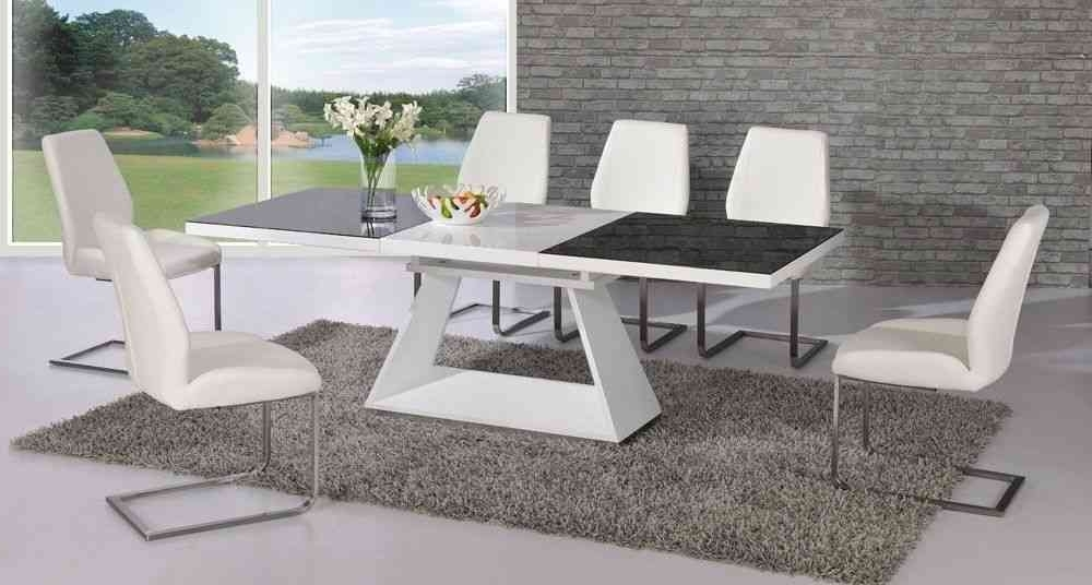 Favorite Dining Tables 8 Chairs Set Throughout White High Gloss Extending Black Glass Dining Table And 8 Chairs (View 15 of 20)