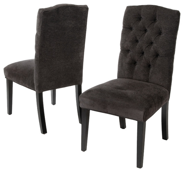 Favorite Fabric Covered Dining Chairs With Regard To Clark Tufted Back Dark Gray Fabric Dining Chairs, Set Of  (View 12 of 20)