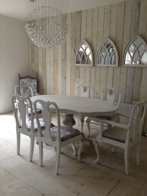 Favorite French Style Shabby Chic Dining Table & 6 Chairs Brand New Silver For French Chic Dining Tables (View 10 of 20)