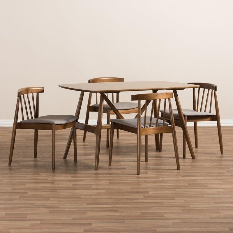 Favorite George Oliver Watkin Mid Century Modern 5 Piece Breakfast Nook Throughout Kirsten 5 Piece Dining Sets (View 8 of 20)
