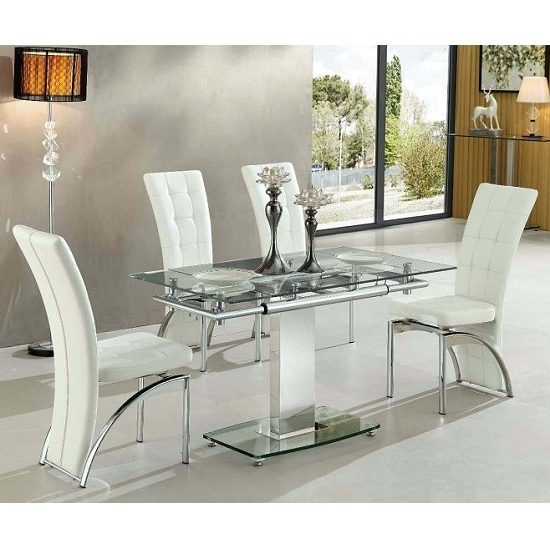Favorite Glass Dining Tables White Chairs For Enke Extending Glass Dining Table With 4 Ravenna White (View 7 of 20)