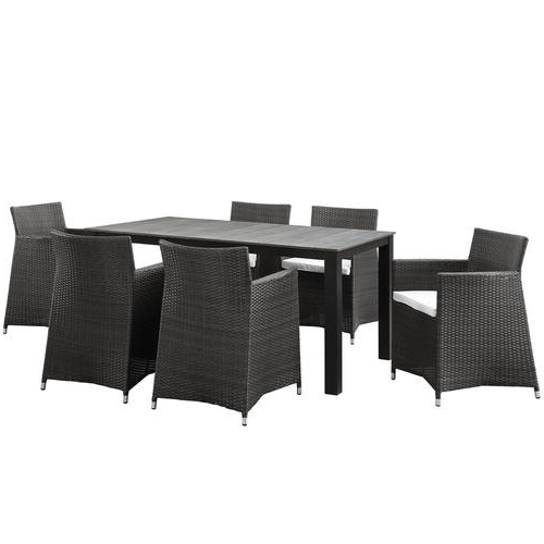 Favorite Helms 7 Piece Rectangle Dining Sets Inside Junction 7 Piece Outdoor Patio Dining Set Brown Whitemodern Living (View 10 of 20)