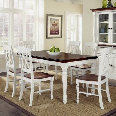 Favorite Home Styles Monarch 7 Piece Dining Table Set With 6 Double X Back For Helms 7 Piece Rectangle Dining Sets With Side Chairs (View 10 of 20)