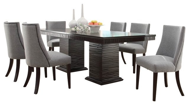 Favorite Homelegance Chicago 7 Piece Pedestal Dining Room Set In Deep Pertaining To Dining Sets (View 10 of 20)