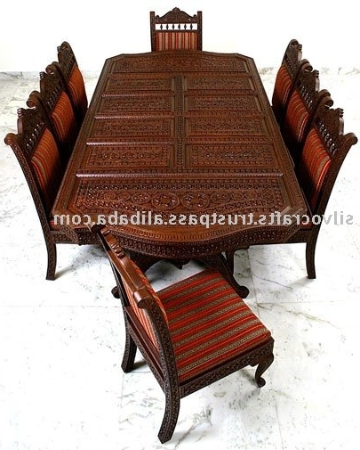 Favorite Indian Wood Dining Tables For Indian Teak Wood Hand Carved Dining Room Set & Restaurant Furniture (View 13 of 20)