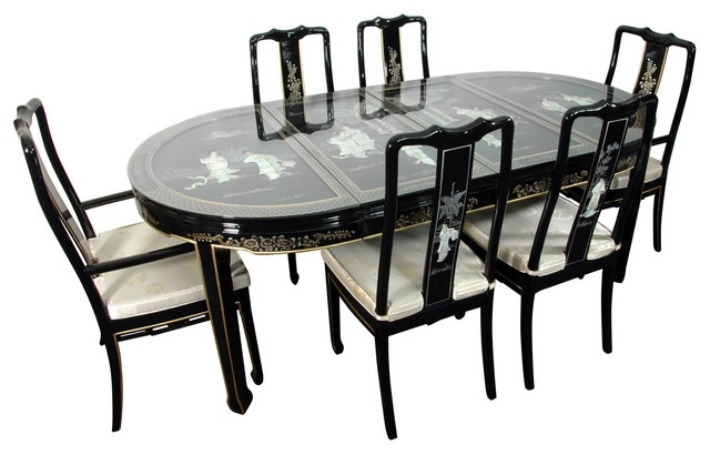 Favorite Lacquer 7 Piece Dining Room Set, Black Mother Of Pearl – Asian In Asian Dining Tables (View 11 of 20)