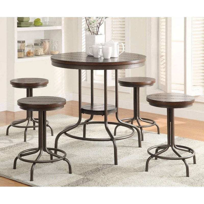 Favorite Market 5 Piece Counter Sets In Benzara Metal 5 Piece Round Counter Height Dining Table Set In (View 20 of 20)