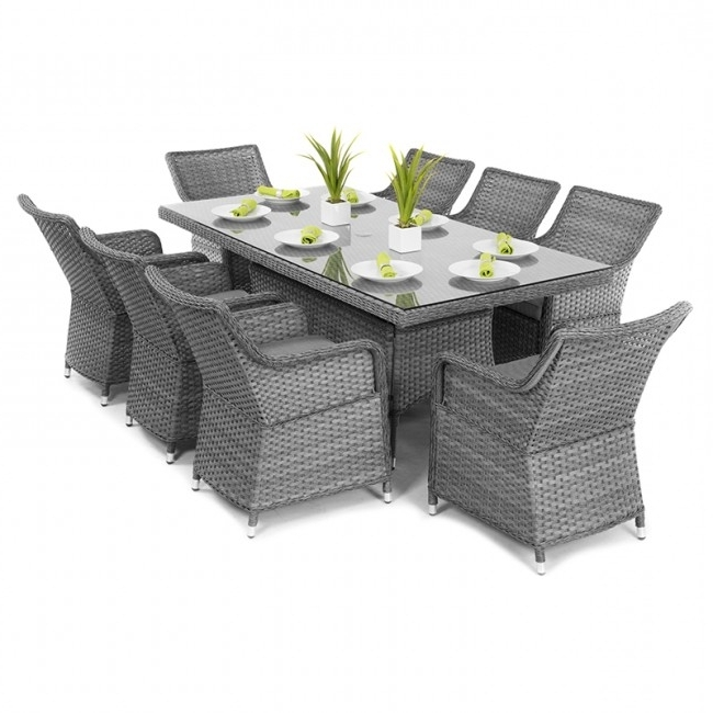 Favorite Maze Rattan – Victoria 8 Seat Rectangular Dining Set (2m X 1m Table Intended For 8 Seat Outdoor Dining Tables (View 8 of 20)