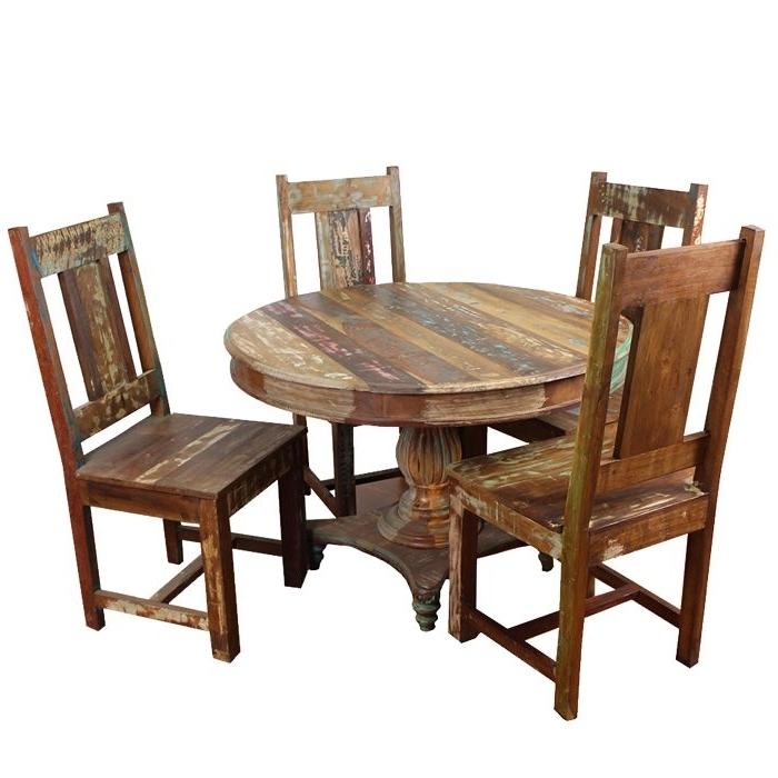 Favorite Meva Furniture Rainforest 5Pcs Round Dining Table Set In Wood Regarding Grady Round Dining Tables (View 3 of 20)