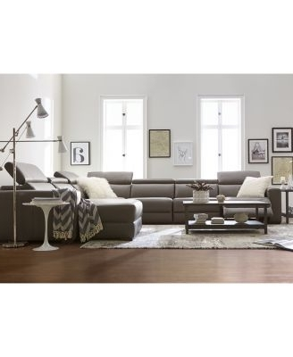 Favorite Nevio 6 Pc Leather L Shaped Sectional Sofa With 3 Power Recliners Regarding Marius Dark Grey 3 Piece Sectionals (View 2 of 15)