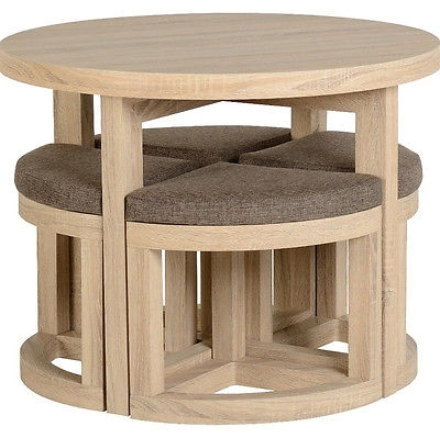 Favorite Oak Dining Table Small 4 Chairs Space Saving Seat Round Wooden Solid Throughout Small Oak Dining Tables (View 4 of 20)