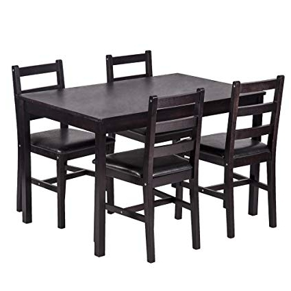 Favorite Outdoor Dining Table And Chairs Sets Within Amazon – Bestmassage Dining Table Set Kitchen Dining Table Set (View 8 of 20)