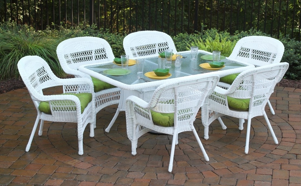 """Favorite Rattan Dining Tables And Chairs Inside Tortuga Outdoor Portside 7 Piece 66"""" Wicker Dining Set – Wicker (View 6 of 20)"""