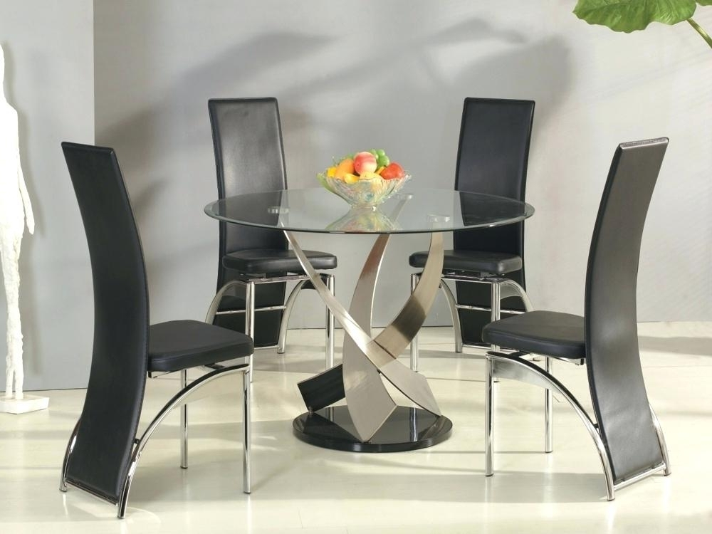 Favorite Round Black Glass Dining Tables And 4 Chairs Pertaining To Small Round Glass Dining Table Sets – Modern Computer Desk (View 6 of 20)