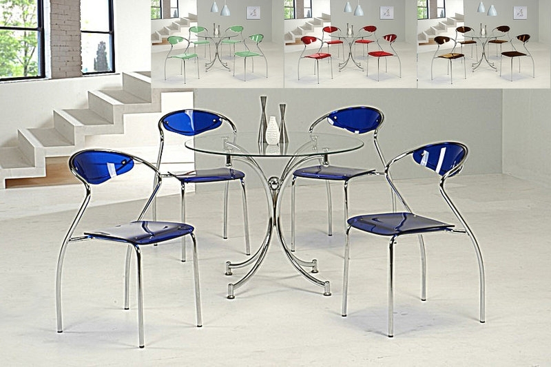 Favorite Round Clear Glass Dining Table And 4 Blue Chairs – Homegenies Throughout Blue Glass Dining Tables (View 10 of 20)