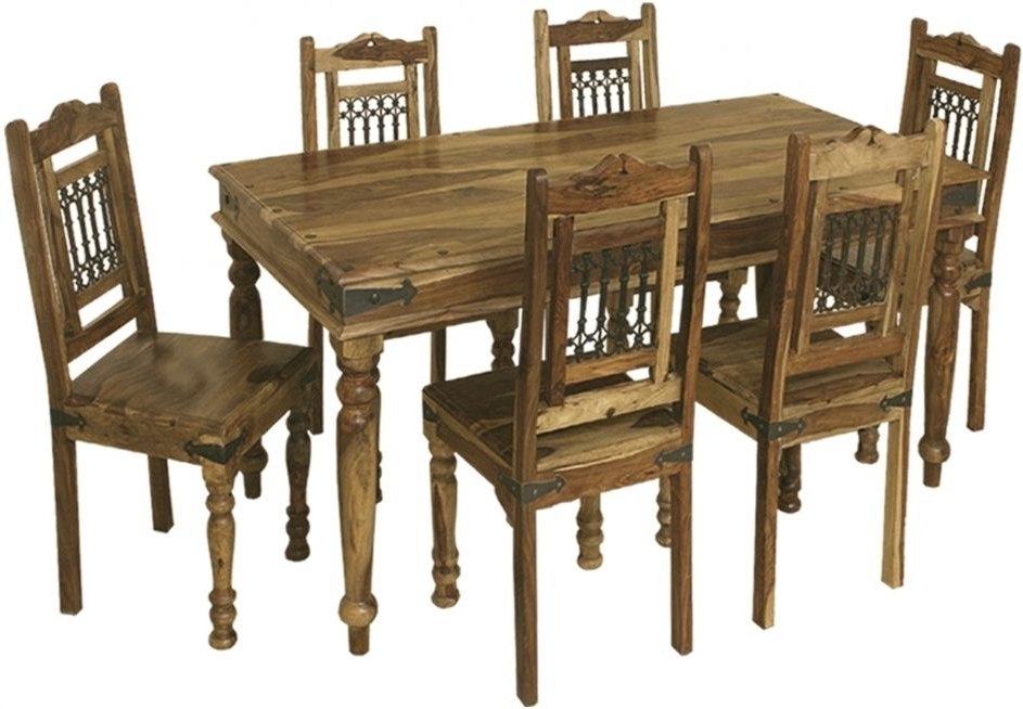 Favorite Sheesham Dining Tables And Chairs Pertaining To Buy Thacket Sheesham Dining Table – 6 Seater Online – Cfs Uk (View 15 of 20)