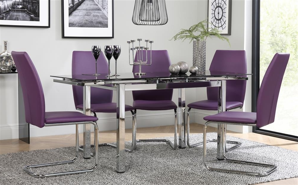 Favorite Space Chrome & Black Glass Extending Dining Table With 6 Pica Purple With Black Glass Extending Dining Tables 6 Chairs (View 10 of 20)