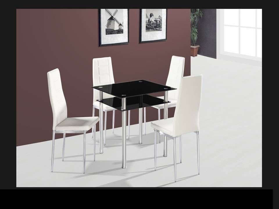 Favorite Square Black Glass Dining Table And 4 Chairs – Homegenies In Square Black Glass Dining Tables (View 7 of 20)