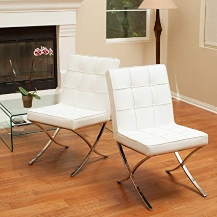 Favorite White Leather Dining Chairs Regarding Amazon – Christopher Knight Home Milania White Leather Dining (View 6 of 20)