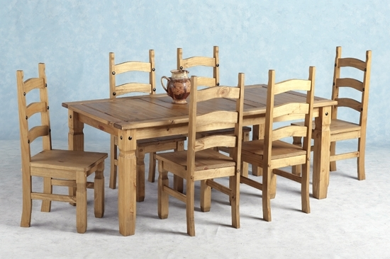 Favorite Wooden Dining Tables And 6 Chairs Throughout Corona Wooden Dining Set With 6 Wooden Chairs  (View 5 of 20)