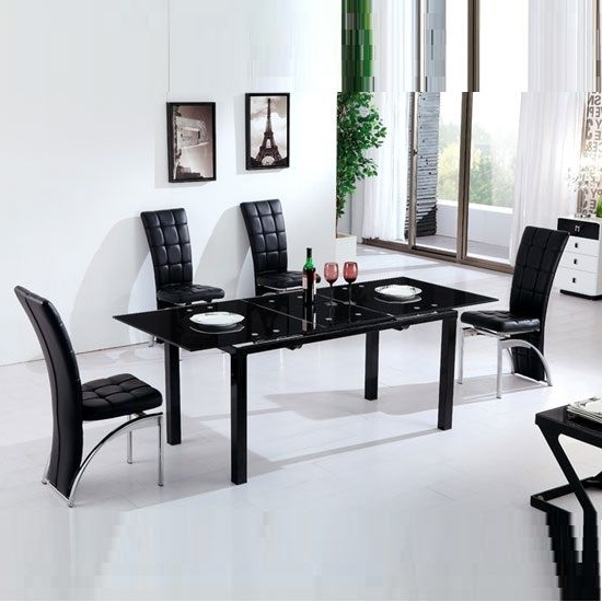 Florence Extending Black Glass Dining Table With 6 Ravenna Chair Inside Most Recently Released Black Glass Extending Dining Tables 6 Chairs (View 11 of 20)