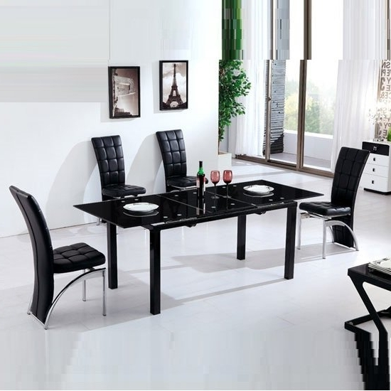 Florence Extending Black Glass Dining Table With 6 Ravenna Pertaining To Most Up To Date Extending Black Dining Tables (View 13 of 20)
