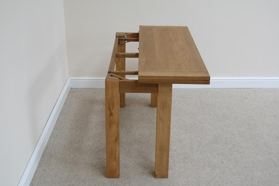Foldaway Dining Tables With Newest Wooden Narrow Flip Top Oak Console Dining Side Table For Dining Sets (View 6 of 20)
