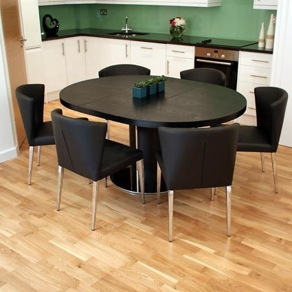 Free Assembly On The Modern Curva Round Extending Dining Tables Pertaining To Newest Black Extending Dining Tables (View 11 of 20)