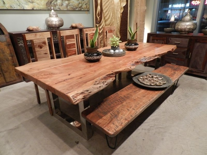 Freeform Dining Table In Acacia Wood With Chrome Legs Reclaimed Wood Within Well Liked Acacia Dining Tables (View 12 of 20)
