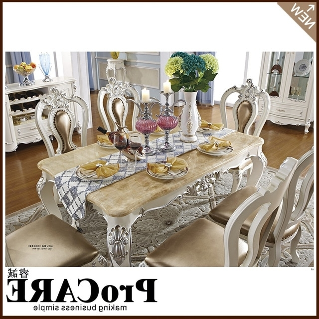 French Royal Style Wood Furniture Marble Dining Table Set For Sale Regarding Favorite Marble Dining Tables Sets (View 7 of 20)