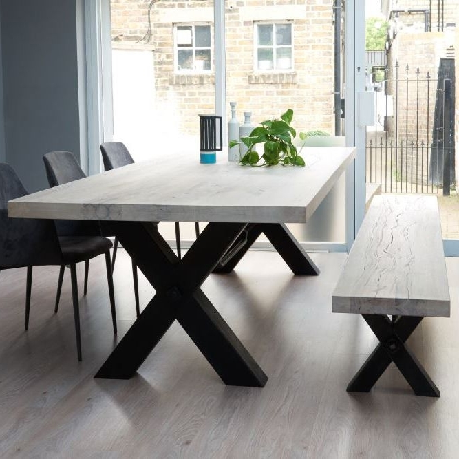From Stock: Rustik Wood & Metal Dining Table, Cross Frame Leg In Throughout Popular Wooden Dining Sets (View 6 of 20)