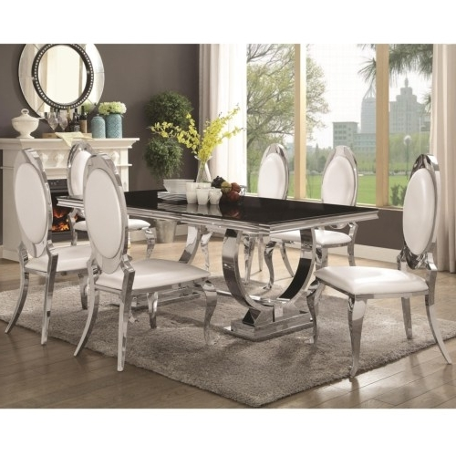 Furniture : Antoine Stainless Steel Dining Table With Glass Top With Latest Glass And Stainless Steel Dining Tables (View 4 of 20)