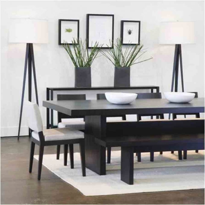 Furniture: Entrancing Modern Dining Set With Bench Applied To Your Pertaining To Well Liked Modern Dining Sets (View 11 of 20)