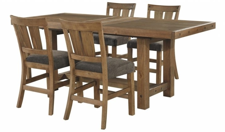 Furniture: Extension Table Lovely Signature Designashley Tamilo With Regard To Most Up To Date Jaxon Grey 5 Piece Round Extension Dining Sets With Wood Chairs (View 5 of 20)