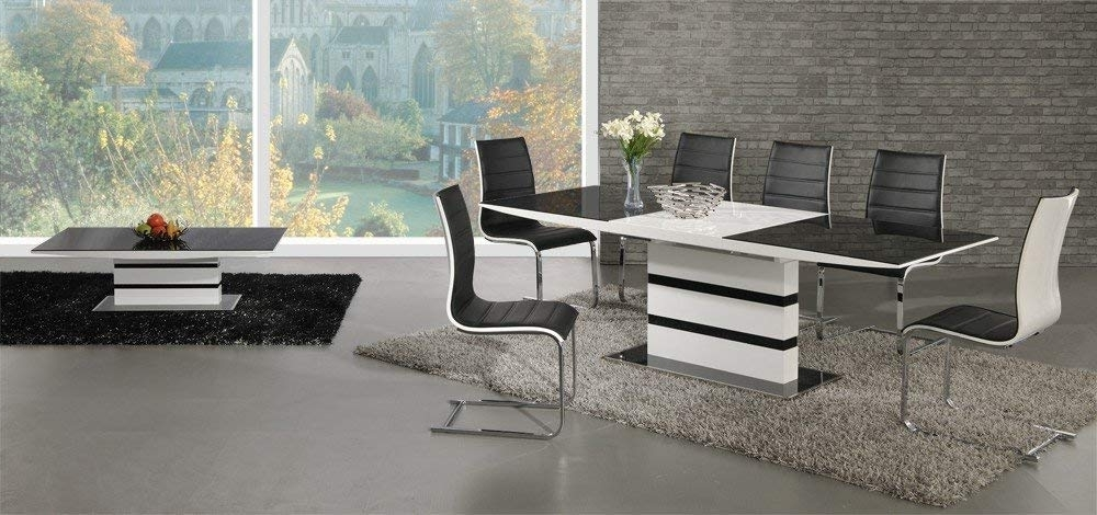 Furniture Mill Outlet Arctic Black Glass White High Gloss Extending For Current White High Gloss Dining Chairs (View 5 of 20)