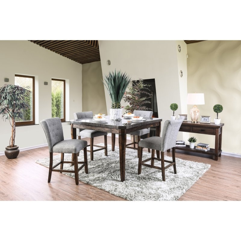 Furniture Of America Atticus 7 Piece Counter Height Table Set In In Most Recent Norwood 7 Piece Rectangular Extension Dining Sets With Bench & Uph Side Chairs (View 4 of 20)