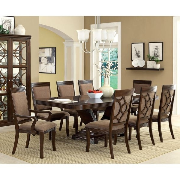 Furniture Of America Woodburly 9 Piece Dining Set With Leaf With Widely Used Candice Ii 7 Piece Extension Rectangular Dining Sets With Slat Back Side Chairs (View 8 of 20)
