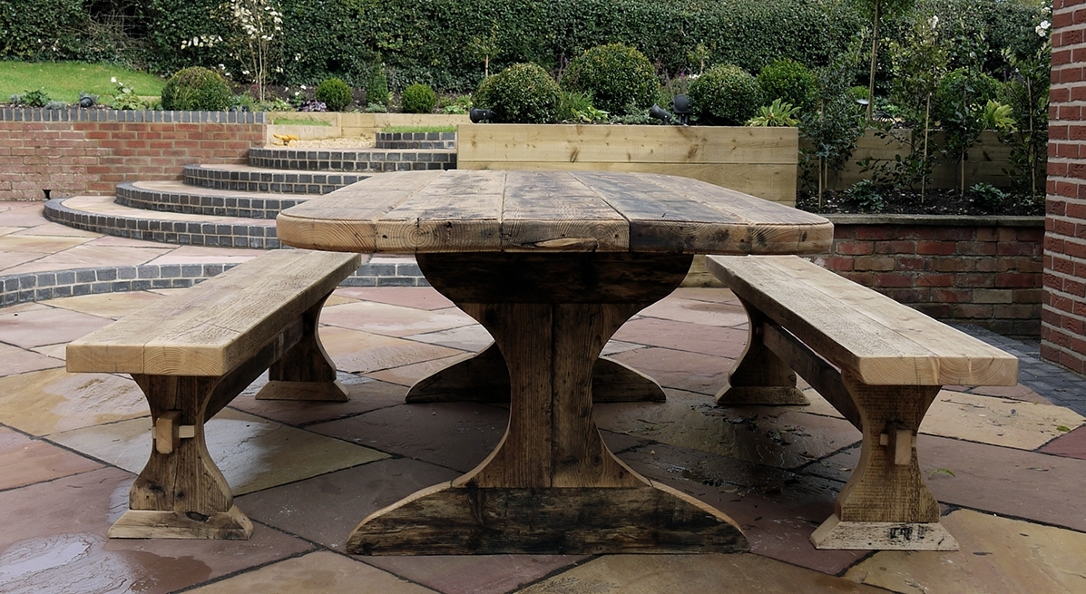 Garden Dining Table And Bench Set Inside Garden Dining Tables (View 5 of 20)