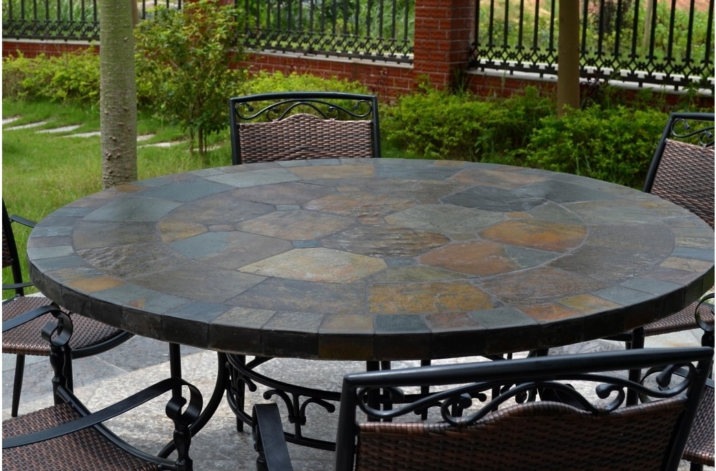 Garden Dining Tables In Most Current 63'' Round Slate Outdoor Patio Dining Table Stone Oceane (Gallery 11 of 20)